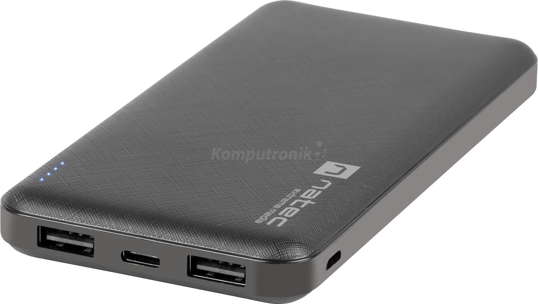 Natec Extreme Media Trevi 10000 mAh 2X USB-A + 1X USB-C black