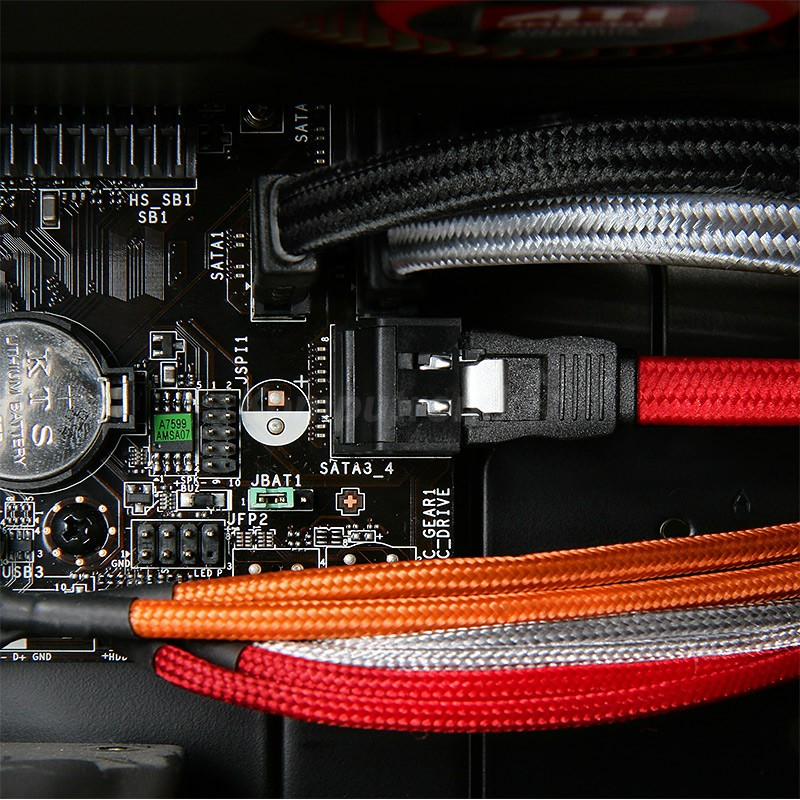 BitFenix Przedluzacz USB internal 30cm - oplywowy red black